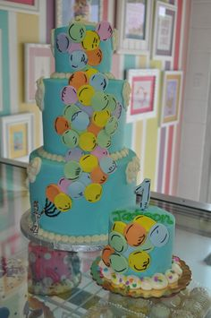 "Dr. Seuss ""Oh the places you'll go"" Birthday Cake and Smash Cake 1st Birthday www.LeahsSweetTreats.com"
