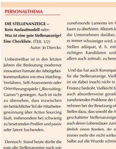 Gastartikel im Personalintern-Newsletter: Die #STELLENANZEIGE. Kein Auslaufmodell. Oder? http://www.mediaproverlag.de/pdf/personalintern/2017/ausgabe04_17.pdf