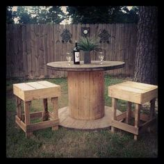 Spool table and stools