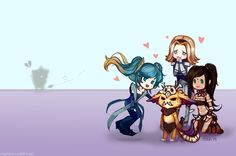 League of Legends - Gnar, Lux, Nidalee, Sona  http://mynxu.tumblr.com/