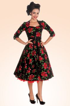 Bunny - Eternity 50s Black Swing Dress Red Roses STYLE