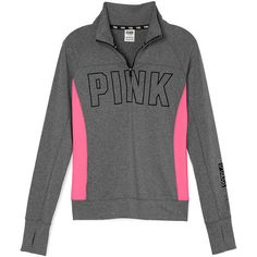 PINK Ultimate Half-Zip ($45) ❤ liked on Polyvore featuring activewear, activewear tops, tops, victoria's secret, pullovers, shirts, sweaters, slim shirt, pink pullover and pink half zip pullover