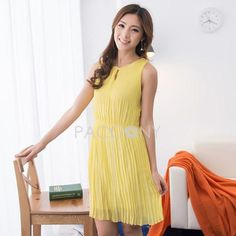 Summer Hot Concise Candy Color Pleated Bodycon Sleeveless Chiffon Dresses
