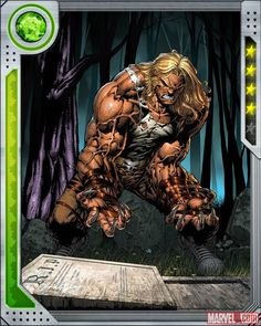 Sabretooth card art by David Finch from Marvel War of Heroes   Marvel.com