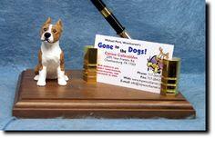 Am Staff Business Card Holder w/ Pen (desk set) (Cropped Ears)