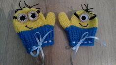 Luvas com dedinhos em crochê Minions. <br>Obs.: Faço em outros temas <br> <br>FRETE GRÁTIS SOMENTE PARA SÃO PAULO