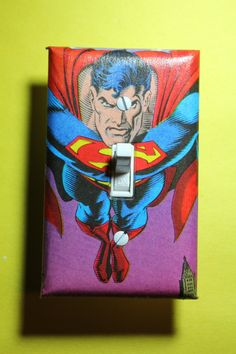 Superman Light Switch Plate Cover Comic Book boys by ComicRecycled