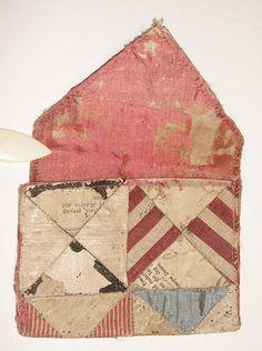 18th c. patchwork wallet purse