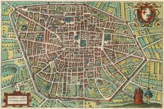 Antique map - bird's-eye view plan of Bologna by Braun and Hogenberg.   Sanderus Antique Maps