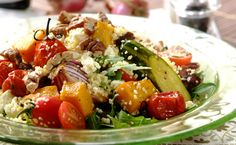 Cous cous salad with roasted veggies, feta, dates and toasted pecan nuts