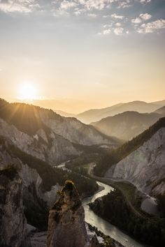 Sunrise over the Ruinaulta. The long canyon was created by the river Rhine.