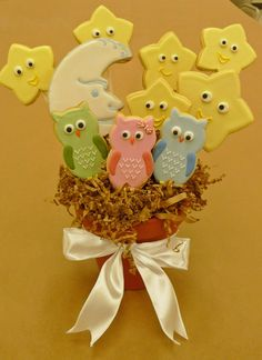 Owls, moon and stars cookie bouquet...