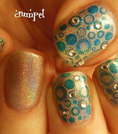 stamp nail art with rhinestones!