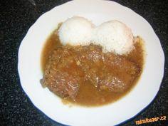 Přírodní roštěná s rýží Chana Masala, Stew, Mashed Potatoes, Menu, Cooking Recipes, Pudding, Ice Cream, Ethnic Recipes, Meat