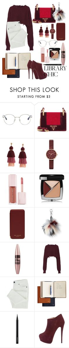 """Autumn Books"" by zoya-a ❤ liked on Polyvore featuring Prada, Skagen, Puma, Chanel, Ted Baker, Aéropostale, Maybelline, Unravel, Mark & Graham and MAC Cosmetics"