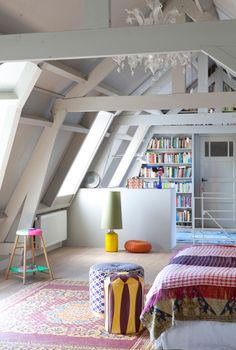 White Everything with Splashes of Brightly Colored Patterns, Slanted Ceiling, Attic Bedroom, Floor-to-Ceiling Bookcase, Lots of Natural Light // curved Dream Bedroom, Home Bedroom, Bedroom Decor, Bedroom Nook, Bedroom Kids, Dream Rooms, Modern Bedroom, Style At Home, Attic Bedrooms