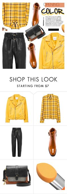 """""""Yellow & ..."""" by cilita-d ❤ liked on Polyvore featuring MANGO, Petar Petrov, Jeffrey Campbell and FOSSIL"""