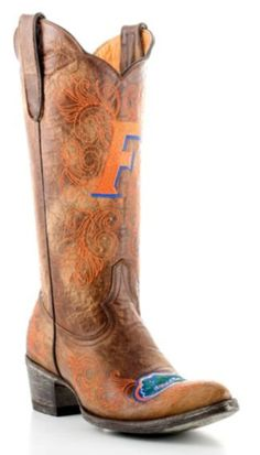 For the true FAN-atic, kick off any occasion with a pair of Gameday University of Florida Gator boots. These handcrafted boots feature an embroidered toe, shaft, and heel boasting the Gator's most popular markings. Let the Gator Growl! Florida Gators Football, College Football, Old Gringo Boots, University Of Florida, Football Season, Tall Boots, Cowgirl Boots, My Style, Elizabeth Beisel