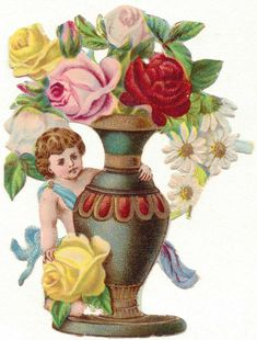 Oblaten-Glanzbilder-scrap-chromo: Der Rosenengel um 1900