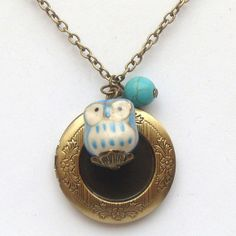 Antiqued Brass Locket Turquoise Porcelain Owl by gemandmetal, $14.99