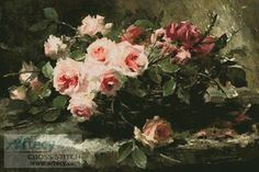 Pink Roses in a Basket - cross stitch pattern designed by Tereena Clarke. Category: Roses.