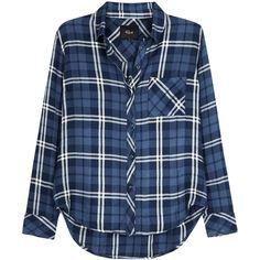 Rails Hunter Blue Plaid Shirt - Size L (710 SAR) ❤ liked on Polyvore featuring tops, plaid shirts, blue shirt, rails shirts, tartan shirt and rounded hem shirt