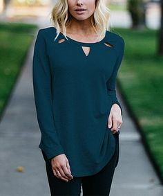 b67635fe1fb2d Look what I found on  zulily! Dark Teal Cutout Tunic - Women  amp