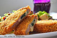 Libritos de lomo con york, espinaca y queso