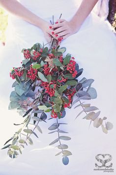 Bouquet of red berries with silver-grey eucalyptus foliage. Wedding Details, Wedding Ideas, Red Berries, Stunning Dresses, Bridal Boutique, Bridal Accessories, Snow White, Bouquet, Bride