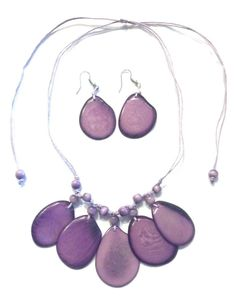 The jungle ivory tagua nut necklace on purple (adjustable slide for) with earrings