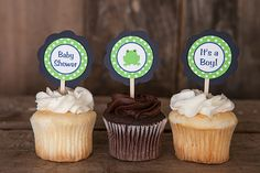 Frog Baby Shower Decorations  Frog CUPCAKE by getthepartystarted