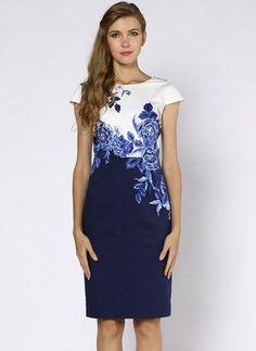Cotton Blends Floral Short Sleeve Knee-Length Casual Dresses (1029731) @ floryday.com