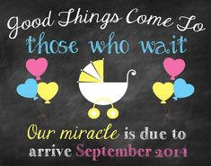 Custom Printable Pregnancy Announcement // Pregnancy Reveal // Good Things Come To Those Who Wait // Miracle // Miracle Baby