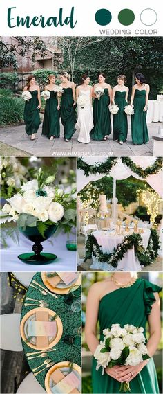 30 Sophisticated Emerald Green Wedding Ideas - Hi Miss Puff Emerald Green Weddings, Emerald Wedding Theme, Emerald Green Wedding Dress, Emerald Green Bridesmaid Dresses, Emerald Green Dresses, Burgundy Wedding, Blue Wedding, Wedding Flowers, Spring Wedding Colors