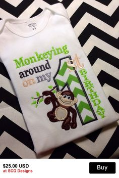 Embroidered Monkeying Around Age & Name,Embroidered Birthday Onesie,Embroidered T-Shirt,Newborn Tops,Baby Tops, Infant T