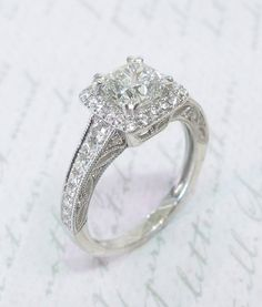 e4f5ffd37028f Square Halo Diamond Ring with Filigree Profile Princess Cut Engagement Rings