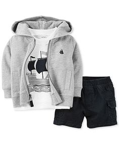 Carter's Baby Boys' 3-Piece Cardigan, Tee Shorts Set