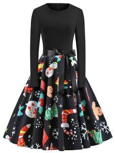 Winter Christmas Dresses Women Vintage Robe Swing Pinup Elegant Party Dress Long Sleeve Casual Plus Size Print Black # Christmas Swing Dress, Vintage Christmas Dress, Christmas Dresses, Long Sleeve Vintage Dresses, Plus Size Vintage Dresses, Belted Dress, The Dress, Dress Long, Robes Vintage