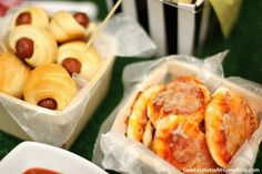 "Serve mini sized ""stadium food"" - pizzas & pigs in a blanket"