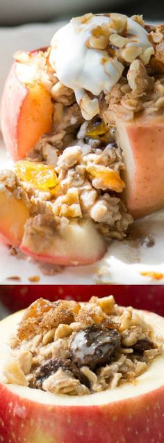 These Baked Breakfast Apples from The View from Great Island make the perfect breakfast that you are going to love! The apples are juicy, stuffed with oatmeal and drizzled with your favorite maple syrup. Add a dollop of whipped cream or yogurt and you'll have a warm and comforting breakfast that will start your day right!