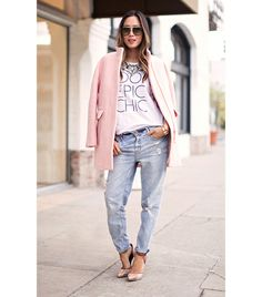 Aimee Song of Song of Style On Song: J.Crew coat; Song of Style for eLUXE shirt; Gina Tricot jeans; Rachel Roy heels
