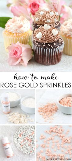 We're sharing how to make rose gold sprinkles using the fabulous Metallic Edible Art Paint we carry. They're easy to make and give you such pretty results! The color is perfect for decorating wedding, shower or special event cakes, cupcakes, cookies and candies. | www.bakerspartyshop.com