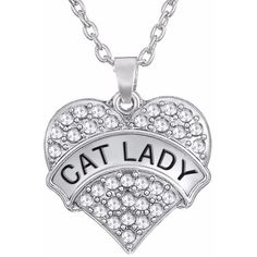 Cat Lady Necklace ❤ liked on Polyvore featuring jewelry, necklaces, chains jewelry, chain pendants, cat necklace, pendant jewelry and cat pendant necklace