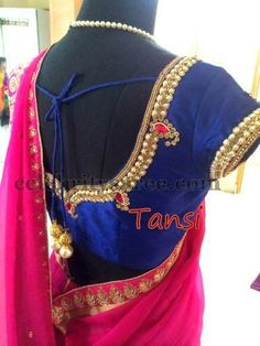 Pearls Blouse in Navy Blue | Saree Blouse Patterns
