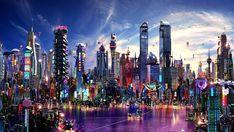 Cyberpunk City, Futuristic City, Futuristic Architecture, Concept Art World, Environment Concept Art, Sci Fi City, Hd Wallpaper 4k, Islamic Paintings, Matte Painting