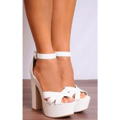 Shoe Closet White Barely There Strappy Sandals High Heels Platforms ($38) ❤ liked on Polyvore featuring shoes, sandals, white, ankle strap sandals, block-heel sandals, high heel platform sandals, strappy platform sandals and white sandals