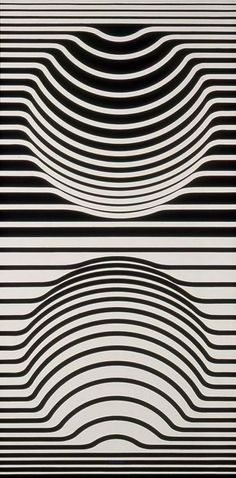 Victor Vasarely  Great use of line to create the illusion of depth. A simple rhythm is set up between the mirror images on top and below, the warping in the lines helps create shape and form in the image.:
