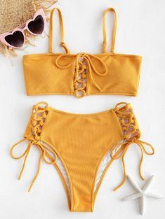 Zaful Ribbed Lace Up Bikini Set Sexy High Leg Swimsuit Women Solid Color 5656 Push Up Bikini, Sport Bikini Set, Bikini Sets, Bandeau Bikini Set, High Leg Bikini, Bikini Swimwear, Triangle Bikini, Retro Swimwear, Swimwear Sale