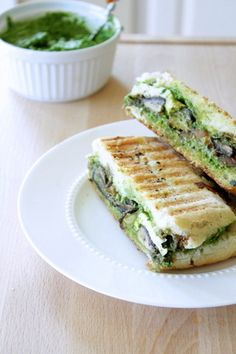 Portobello Pesto Panini - healthey version if you substitute white for whole grain bread. Good lunch choice on maintanance stages.