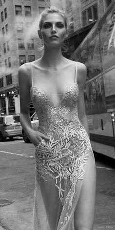 inbal dror 2016 sleeveless sweetheart illusion spaghetti strap sheath wedding dress sexy slit sheer skirt pocket style 03